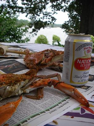 Seeing red: Chesapeake Bay blue crabs beckon a diner at THE TOUGH TIMES Eastern Shore Bureau over the Labor Day Holiday weekend. A can of National Bohemian beer completes this traditional Maryland repast. (THE TOUGH TIMES copyright photo)