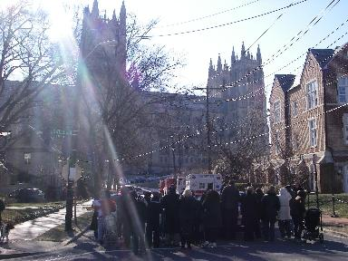 Small crowd gathers outside the National Cathedral in Washington, D.C., on Wednesday Jan. 21, 2009 hoping to catch a glimpe of President Obama.